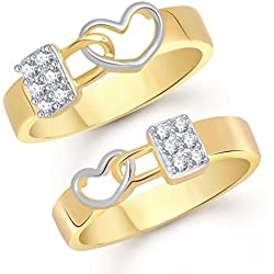 V. K. Jewels Love Lock Gold And Rhodium Plated Couple Rings
