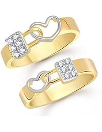 Vk Jewels Love Lock Gold Brass Alloy Cz American Diamond Couple Ring For Women Vkcplfr1004G_10F_20M