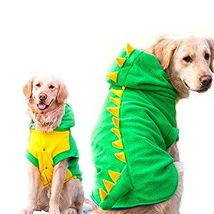 Funny Halloween Big Grand Chien Dinosaure Costume Veste Manteau d'hiver Polaire chaude Golden Retriever Pitbull Chien Vêtements à capuche