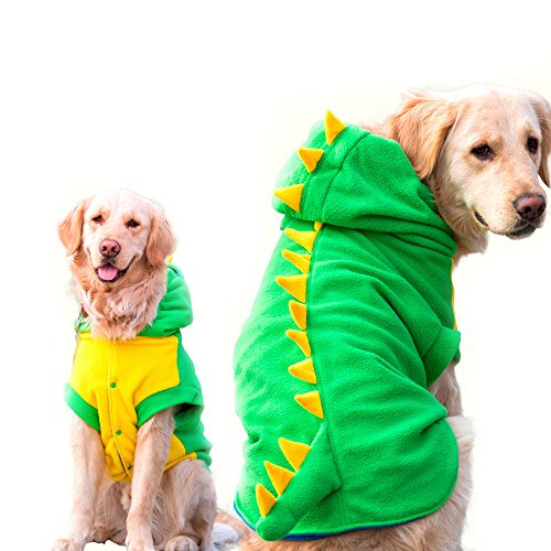 Funny Halloween Big Große Hunde Dinosaurier Kostüm Jacke Mantel Warm Fleece Winter Golden Retriever Pitbull Hund Kleidung (Für Kostüme Pitbulls Halloween)
