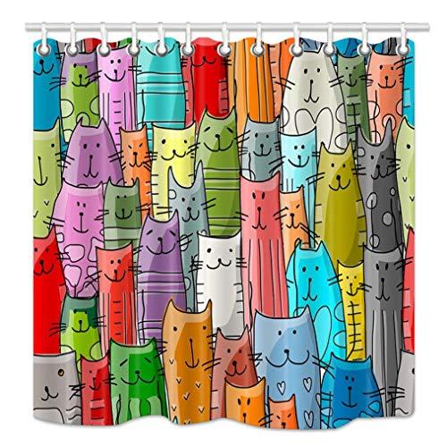 Aliyz Cartoon Cat Lover Duschvorhang Lustige Tiere Kätzchen Dekor für Kinder Duschvorhang, wasserdichtes Gewebe Bad Dekorationen Bad Vorhänge 12 STÜCKE Haken 71X71in (Kätzchen Volant)