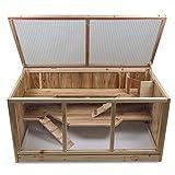 Julido XXL Hamsterkäfig Kleintierkäfig aus Holz mit 2 Etagen