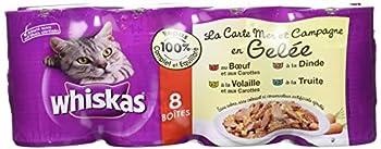 Whiskas  Boîtes pour chats, la Carte Mer et Campagne en Gelée, 8 x 390G  - Lot de 3 (24 Boîtes)