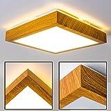 Moderner LED Deckenstrahler Sora in Holz-Optik – Badezimmer-Lampe Sora – warmweißes Deckenlicht 900 Lumen – 12 Watt – 3000 Kelvin – eckige, 1-flammige Zimmerleuchte auch für Küche, Flur, Wohnzimmer