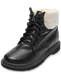 Hannea Stylish Round Toe Lace-up Fleece Flat Heel Women Ankle Boots