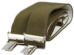 Alex Flittner Designs Hochwertige Hosenträger mit 4 extra starken Clips für Herren 3,5cm schwarz, gestreift und viele mehr, Olive, 110cm Bandlänge