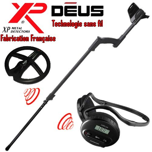 Xp Metal Detectors - Détecteur De Métaux Deus Light1 - Technologie Sans Fil - Casque Sans Fil Ws4 - Disque Dd 22 Cm Avec Protège Disque - Canne Télescopique En S