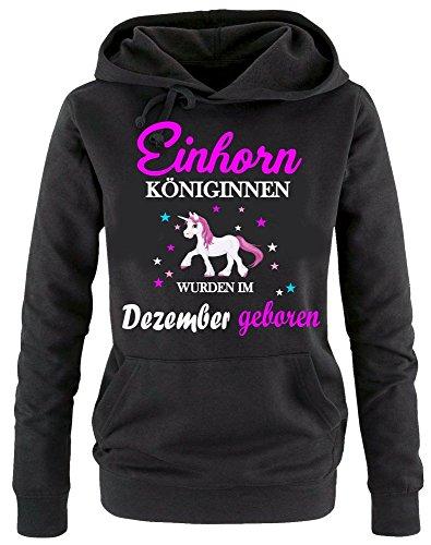 Einhorn Königinnen wurden im Dezember geboren ! Damen HOODIE Sweatshirt mit Kapuze SCHWARZ, Gr.XL