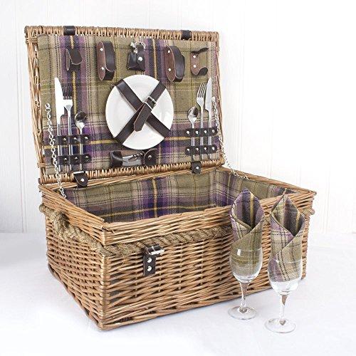 Weiden Picknickkorb Für 2 Personen Mit Zubehör - Eine Charmante Geschenkidee Zum Geburtstag, Hochzeit, Ruhestand, Jubiläum