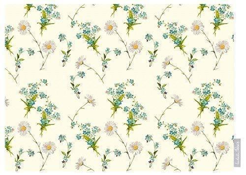 Wildflower Creme (Izabela Peters Designer Wasserdicht Garten Outdoor Tischdecke - Wildflowers Lakeland Kollektion Entworfen Bedruckt & Handgefertigt in UK (Auswahl Längen) - Creme)