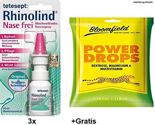 3x 20ml Tetesept Rhinolind Nasenspray +Gratis Power Drops. Befreit und pflegt die verstopfte und Wunde Nase auf natürliche Weise. Ohne Treibgas und ohne Gewöhnungseffekt.