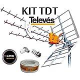 KIT ANTENA TELEVES BOSS 790 HD CON FILTRO LTE Y PREVIO MRD INTELIGENTE + ROLLO 20 MT CABLE Y CONECTORES