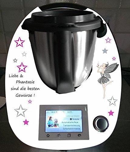 Aufkleber passend für Thermomix TM 5 Fee grau Sterne lila Spruch - Fünf-sterne-küchenmaschine