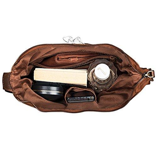 STILORD Borsa elegante Borsa a tracolla piccolo, 29,5 x 25 x 7cm, chiusura lampo, bufalo pelle, Colore:marrone antico marrone antico