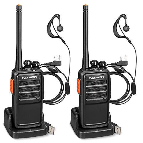 FLOUREON Ricetrasmittenti Ricaricabile Professionali 16 Canali PMR446 MHz Walkie Talkie Ricetrasmittente Nessuna...