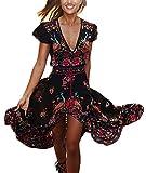 Maxikleid Damen Kleid Lang Elegant Kurzarm V Ausschnitt High Waist Retro Joker Hippie Boho Blumen Muster Lange Kleider Strandkleider Sommerkleider (Color : Schwarz, Size : M)