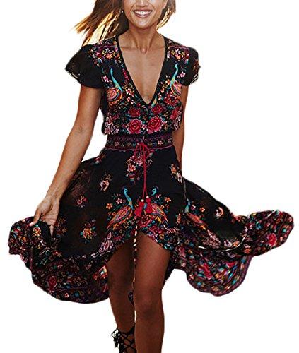 2759509f9 Mujer Vestidos Largos De Verano Vestidos Playa Elegantes Manga Corta V  Cuello Casual Dulce Lindo Chic Hippie Boho Flores Vestidos Verano Vestido  Largo