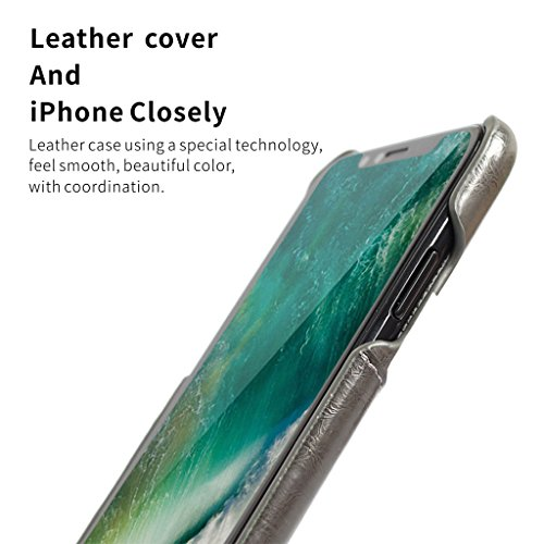 iPhone X Étui, Careynoce Fait Main PU Cuir Protection Coque Housse Case Cover pour Apple iPhone X iPhone 10 (5.8 pouces) avec Carte de Crédit Fentes -- Noir T06
