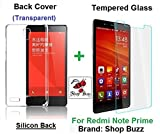 """Shop Buzz Ombo Of Transparent Back Cover + Tempered Glass - Xiaomi Redmi Note Prime 5.5"""" (Transparent Silicon Back For Mi Note Prime) Amazon"""
