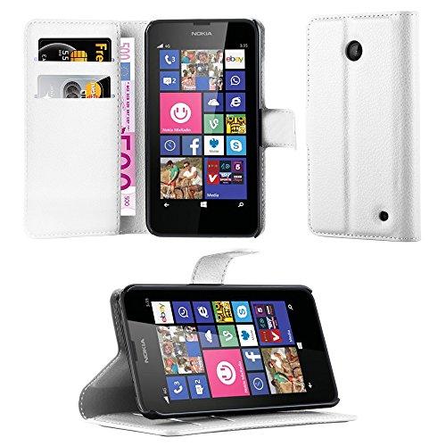 Cadorabo Étui de Protection à Rabat avec Porte-Cartes et Fonction Support pour Nokia Lumia 630/635 Blanc