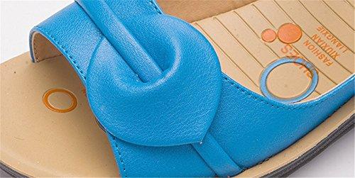 Wealsex Sandales compensée 3 CM Femme Cuir Bout Ouvert Semelles Souples confort Bleu