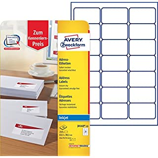 Avery Dennison Zweckform J8160-10 Address Labels Special Coating 10 Pages 63.5 x 38.1 mm White