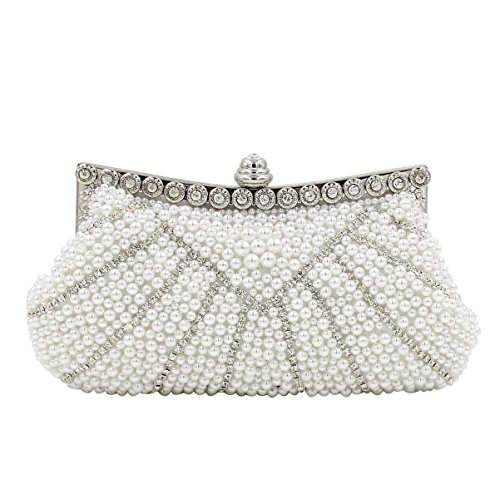 Delle Donne Del Diamante Della Perla Del Sacchetto Di Sera Della Borsa Di Alta-end White