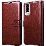Jkobi Leather | Inner TPU | Foldable Stand | Wallet Card Slots Vintage Flip Cover Case for Vivo Y31 2021 (Brown)