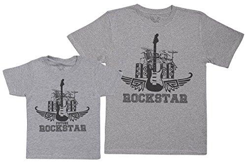 Future Rockstar Set - regalo para padres e hijos - camiseta de niño y camiseta de hombre - Gris - XXL & 3-4 años