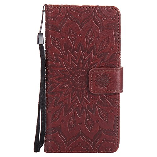 Kompatibel mit Handyhülle Huawei P10 Lite Leder Tasche Schutzhülle Handy Tasche Mandala Blumen Muster Book Case Leder Hülle Kunstleder Cover Klapphülle Flip Case Magnetverschluss,Braun