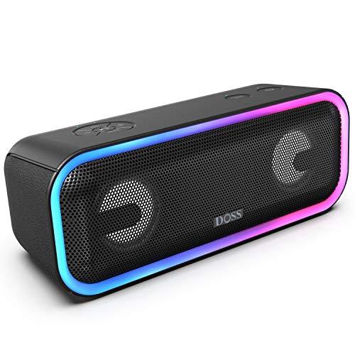 DOSS Enceintes Bluetooth Portable Lumineuse, 24W Enceintes sans Fil avec LED Lumière, Portée Bluetooth 20m, Waterproof, Basses Puissantes, Enceinte USB 15 Heures Playtime, Noir