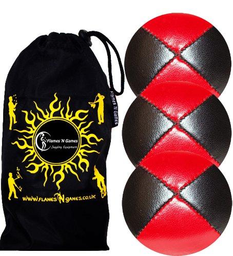 Jonglierbälle 3er Set - Profi Beanbag Bälle aus Glattleder (Leather)+Tasche. Set Ideal Für Anfänger Wie Auch Für Profis. (Schwarz/Rot)