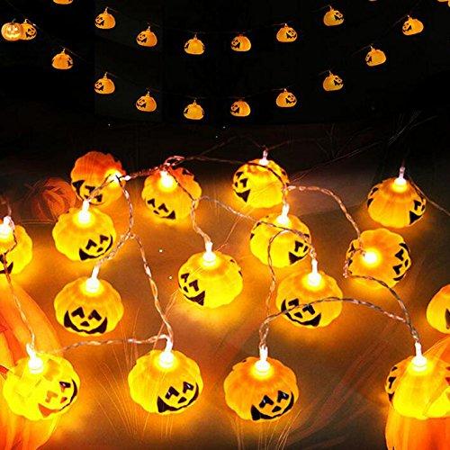 Flikool 16 led catena luminosa alimentazione a batterie luci stringa halloween zucca lumi natale string pumpkin lights per decorazione esterni christmas xmas new year giardino