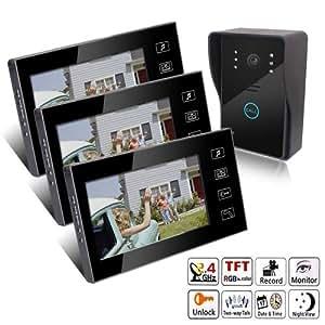 KEEDOX-Portier sans fil Interphone Vidéo Intercom Avec 3 Moniteurs Ecran Tactile 7 pouces couleur LCD tactile filaire numérique