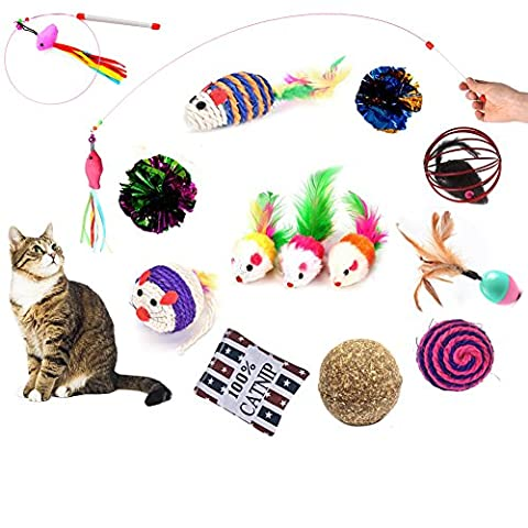 BESTIM INCUK Cat Toys Variety Pack 14 Pieces Interactive Kitten Toys with Cat Teaser Wand, Furry Feather Mice, Mylar Crinkle Balls, Catnip Bag, Cat Toy Ball, Mint Ball