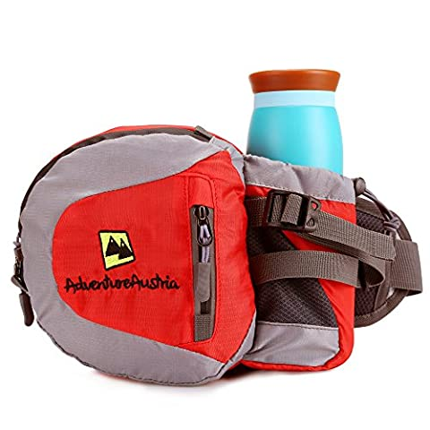 Red Lightweight Waist Pack with Drink Holder from AdventureAustria. Water Resistant Bum Bag Fanny Pouch Belt Suitable for Outdoor Sports Fitness Cycling Jogging Hiking Gym Dog Walking Travel Activities etc. Ideal for Carrying Water Bottle Money Mobile Phone iPhone Keys Wallet & Valuables. Adjustable & Reflective. Suitable for Men Women Children. Available in Black Grey Blue Green & Red.