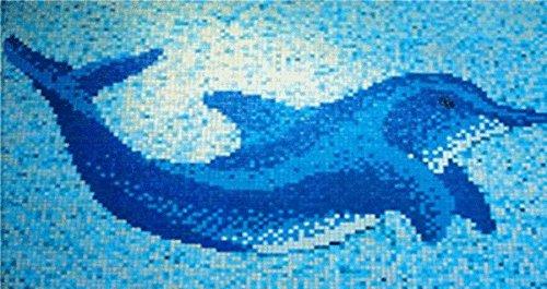 Delphin groß blau 1,60m x 1,10m Fliesen Mosaik Pool Bad WC Glas 4mm Neu #165