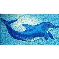 K670 - Azulejos de mosaico de gran tamaño (1,60 m x 1,10 m), color azul