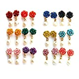#6: Nisa Pearls Multi colour Synthetic Rose with Pearl Drop Earring Combo for Women
