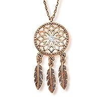 LillyMarie Zilveren ketting voor dames, 925 sterling zilver, Swarovski Elements, dromenvanger, hanger, roségoud, in lengte verstelbaar, satijnen zakje, cadeau voor vrouwen