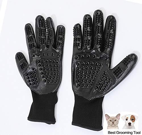 OER Hundesalon Handschuhe Gentle Deshedding Brush Enhanced Fünf Finger Design Geeignet Für Katzen Hunde Und Pferde Lang Und Kurz Fell Schwarz 1 Paar