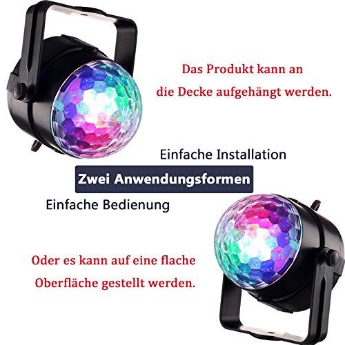 Yorbay LED Discokugel RGB Projektor Lichteffekte 7 Farben Party Lampe 5W Musikgesteuert mit Fernbedienung für Party Disco Bar Weihnachten Feier Halloween Dance DJ KTV Konzert - 6
