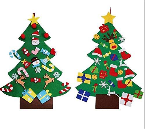 Cokeymove DIY Fieltro Árbol de Navidad Navidad Decoración de Navidad Puerta Hogar Puzzle Niños Juguetes Desmontable Adornos Niños DIY Navidad Regalo Nuevo Año Puerta Decoración de Pared