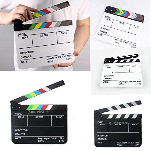 (Baoblaze Holz Regieklappe Rekordbrett mit Streifen, Party, Kostüm, Filmklappe, 300x245mm - Schwarz mit schwarzweiße Streifen)