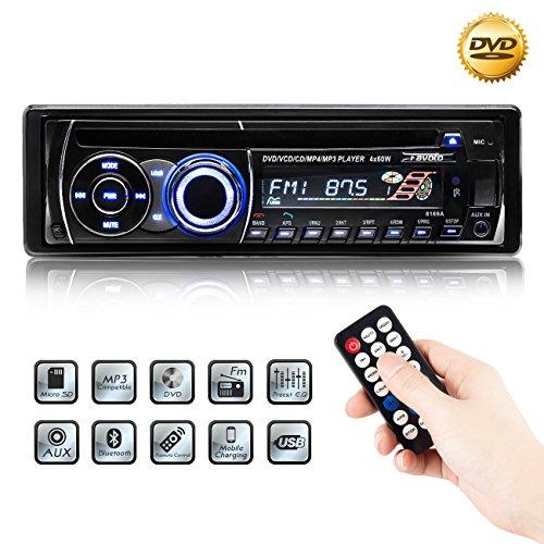 Favoto Autoradio CD Bluetooth 12V 4*60W FM Stéréo Radio de Voiture avec Panneau Amovible Lecteur CD/MP3/USB/SD et Télécommande