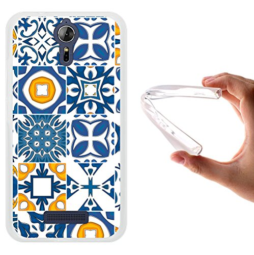 WoowCase Acer Liquid Zest Plus Hülle, Handyhülle Silikon für [ Acer Liquid Zest Plus ] Blaue portugiesische Filese Handytasche Handy Cover Case Schutzhülle Flexible TPU - Transparent