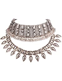 Young & Forever Navratri Jewellery & Diwali Gifts for Family and Friends Valentine Gifts Special Tribal Muse Collection Gold Plated Layering Necklace for Women/Girls N463