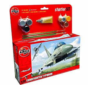 Airfix A50098 Eurofighter Typhoon 1:72 Scale Military Aircraft Category 3 Gift Set with Paint Glue and Brushes