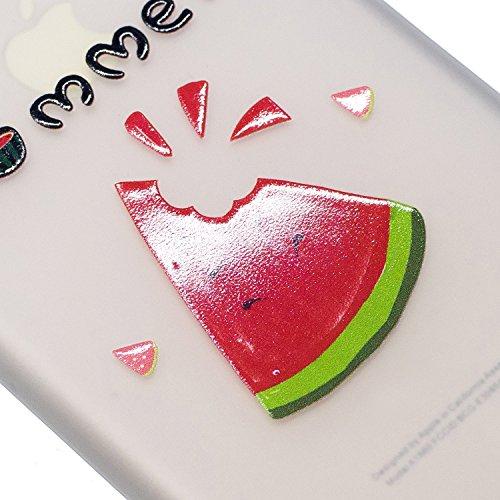 Felfy Housse iPhone 5S,iPhone 5S Coque Transparente Souple,iPhone SE Case Bumper Transparent en Silicone Ultra Slim Mince en Caoutchouc Souple Gel Coque Coquille Couverture Papillon Pastèque Citron Mo Pastèque 02