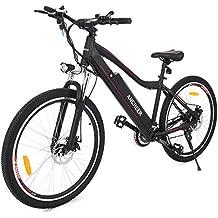 Ancheer 26 Zoll Elektrofahrrad, E-Bike 36V 250W Elektrisches Mountainbike mit LED Meter und Abnehmbarer Lithium-Akku Schwarz